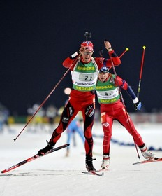 SOUTH KOREA - FEBRUARY 22: Lars Berger of Norway takes first place during the IBU Biathlon World Championships Men's Relay event on February 22, 2009 in Pyeongchang, Korea.