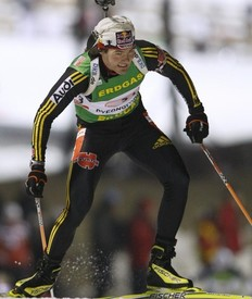 Bronze medalist Michael Roesch of Germany sprints during the men's 4x7.5 km relay race at the IBU Biathlon World Championships in Pyeongchang, east of Seoul February 22, 2009.
