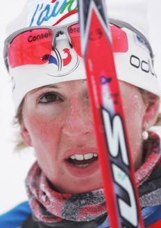 POKLJUKA, SLOVENIA — DECEMBER 19: Sandrine Bailly of France competes during the Women's 7, 5km Sprint in the e.on Ruhrgas IBU Biathlon World Cup on December 19, 2009 in Pokljuka, Slovenia.