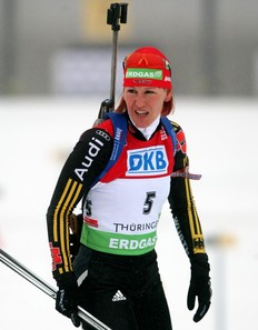 OBERHOF, GERMANY - JANUARY 10: Kati Wilhelm of Germany is seen at the shooting range prior to the Women's 12, 5 km mass start in the e.on Ruhrgas IBU Biathlon World Cup on January 10, 2010 in Oberhof, Germany.