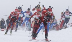 Athletes start in the men's 15 km mass start competition at the Biathlon World Cup in the eastern German ski resort of Oberhof, January 10, 2010. Norway's Ole Einar Bjoerndalen won the competition, Tim Burke of the U.S. placed second and Poland's Tomasz Sikora placed third.