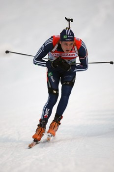 RUHPOLDING, GERMANY — JANUARY 17: Tim Burke of USA competes during the Men's 4 x 7, 5km Relay in the e.on Ruhrgas IBU Biathlon World Cup on January 17, 2010 in Ruhpolding, Germany.