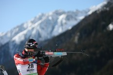 ANTHOLZ-ANTERSELVA, ITALY - JANUARY 20: Krystyna Palka of Poland shoots during the women's individual in the e.on Ruhrgas IBU Biathlon World Cup on January 20, 2010 in Antholz-Anterselva, Italy.