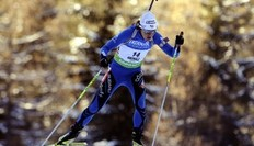 France's Sylvie Becaert competes during the women's 15km individual Biathlon World Cup in Anterselva, northwest Italy January 20, 2010.