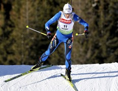 ANTHOLZ-ANTERSELVA, ITALY - JANUARY 22: Sylvie Becaert of France during the e.on Ruhrgas IBU Biathlon World Cup Women's 7.5 km Sprint on January 22, 2010 in Antholz-Anterselva, Italy.