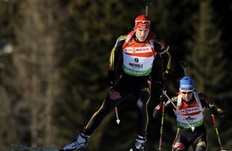 Germany's Arnd Peiffer (L) competes ahead of his teammate Andreas Birnbacher during the men's 10km sprint Biathlon World Cup in Anterselva, northwest Italy, January 23, 2010. Peiffer won ahead of Austria's Dominik Landertinger and compatriot Stephan.