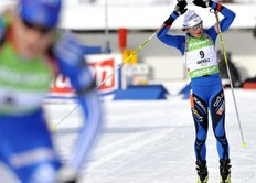 ANTHOLZ-ANTERSELVA, ITALY - JANUARY 24: Sylvie Becaert of France participates in the e.on Ruhrgas IBU Biathlon World Cup Women's 10 km Pursuit on January 24, 2010 in Antholz-Anterselva, Italy.