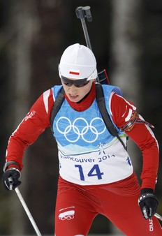 Poland's Krystyna Palka skis during a training session for the women's biathlon event at the Vancouver 2010 Winter Olympics in Whistler, British Columbia, February 12, 2010.