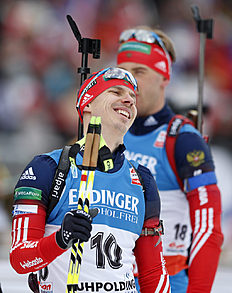 Russia's Evgeny Ustyugov laughs during warm up `t the men's Individual 20 km competition at the Biathlon World Cup in Ruhpolding, Germany, Saturday, Jan,...