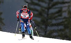 Russia's Evgeniy Garanichev competes during the men's Pursuit 12.5 km competition at the Biathlon World Cup in Ruhpolding, Germany, Sunday, Jan, 12, 2014...