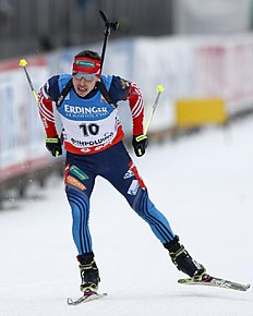 Russia's Evgeny Ustyugov competes during the men's Individual 20 km competition at the Biathlon World Cup in Ruhpolding, Germany, Saturday, Jan, 11, 2014...