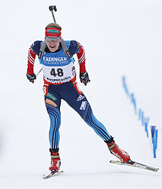 Russia's Alexey Volkov competes during the men's Individual 20 km competition at the Biathlon World Cup in Ruhpolding, Germany, Saturday, Jan, 11, 2014...