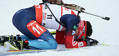 Russia's Evgeniy Garanichev lies on the ground after the men's Pursuit 12.5 km competition at the Biathlon World Cup in Ruhpolding, Germany, Sunday, Jan,...