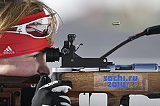 Russian biathlete Glazyrina Ekaterina trains at Laura Cross-country Ski & Biathlon Center ahead of the 2014 Winter Olympics, Monday, Feb. 3, 2014, in Krasnaya...