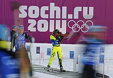 Chrapanova of Slovakia takes part in a biathlon training session for the 2014 Sochi Winter Olympic Games at the «Laura» cross-country and biathlon centre...