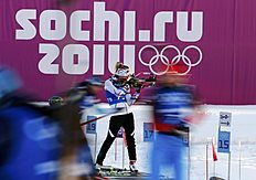 Dorin Habert of France takes part in a biathlon training session for the 2014 Sochi Winter Olympic Games at the �Laura� cross-country and biathlon centre...