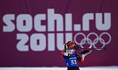 Lightfoot of Britain takes part in a biathlon training session for the 2014 Sochi Winter Olympic Games at the �Laura� cross-country and biathlon centre...