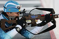 Ukraine's Panfilova takes part in a biathlon training session for the 2014 Sochi Winter Olympic Games at the �Laura� cross-country and biathlon centre...