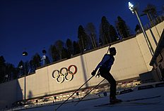 Canada's Kocher takes part in a biathlon training session for the 2014 Sochi Winter Olympic Games at the «Laura» cross-country and biathlon centre in Rosa...