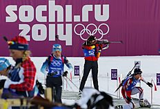 Preuss of Germany takes part in a biathlon training session for the 2014 Sochi Winter Olympic Games at the «Laura» cross-country and biathlon centre in...
