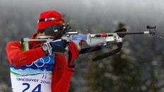 WHISTLER, BC - FEBRUARY 16: Halvard Hanevold of Norway competes in the men's biathlon 12.5 km pursuit - zeroing on day 5 of the 2010 Vancouver Winter Olympics at Whistler Olympic Park Biathlon Stadium on February 16, 2010 in Whistler, Canada.