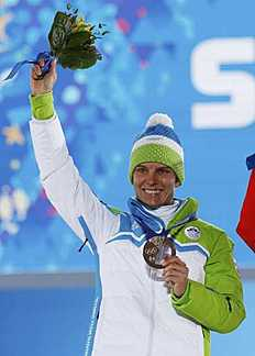 Bronze medalist Slovenia's Teja Gregorin poses during the medal ceremony for the women's biathlon 10km pursuit event at the 2014 Sochi Winter Olympics...