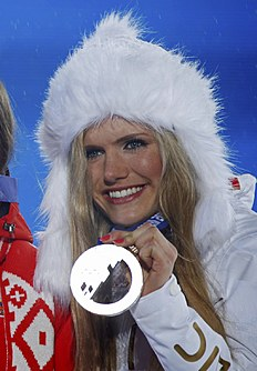 Medal ceremony for women's biathlon 12.5 km mass start event at 2014 Sochi Winter Olympics