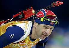 Norway's Ole Einar Bjoerndalen skis during the men's biathlon 4x7.5K relay at the 2014 Winter Olympics, Saturday, Feb. 22, 2014, in Krasnaya Polyana, Russia...