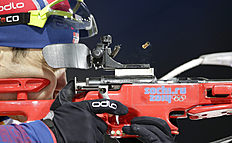 Norway's Ole Einar Bjoerndalen shoots during the men's biathlon 4x7.5K relay at the 2014 Winter Olympics, Saturday, Feb. 22, 2014, in Krasnaya Polyana,...