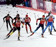 SOCHI, Feb. 22, 2014 (Xinhua) -- Erik Lesser (Front L) of Germany competes during the men's relay 4x7.5km of Biathlon at the 2014 Sochi Winter Olympic...