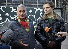 Зимние Олимпийские Игры 2014 в Сочи (Winter Olympics 2014): Greg Louganis, left, Olympic champion and LGBT ambassador for Open Games and Konstantin Yablotsky, head of the Russian LGBT Sports Federation speak to...
