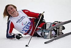 Krasnaya Polyana (Russian Federation), 09/03/2014.- Brigit Skarstein of Norway reacts after the Cross Country Women's 12km Sitting competition at...