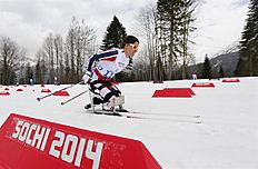 Krasnaya Polyana (Russian Federation), 09/03/2014.- Mariann Marthinsen of Norway in action during the Cross Country Women's 12km Sitting competition...