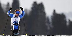 Krasnaya Polyana (Russian Federation), 09/03/2014.- Francesca Porcellato of Italy in action during the Cross Country Women's 12km Sitting competition...
