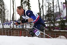 Krasnaya Polyana (Russian Federation), 09/03/2014.- Daniel Cnossen of USA in action during the Cross Country Men's 15km Sitting competition at Laura...