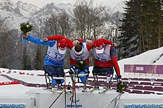 . Krasnaya Polyana (Russian Federation), 09/03/2014.- Gold medalist Roman Petushkov of Russia (C), silver medalist Irek Zaripov of Russia (R) and bronze...