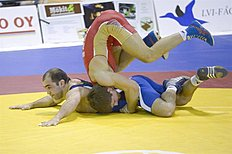 ������ (wrestling): . Vantaa (Finland), 06/04/2014.- Alexander Chekhirkin (red) of Russia in action against Arsen Julfajakyan (blue) of Armenia during their men's 75 kg category...