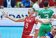 . Gdansk (Poland), 07/09/2014.- Alexey Spiridonov (C) of Russia celebrates a point during the group C match between Russia and Bulgaria of the FIVB Volleyball...
