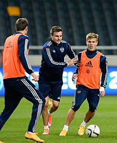 Russia's national team players attend a training session at Friends Arena in Solna, near Stockholm, on October 8, 2014, on the eve of their Euro 2016 qualifying...