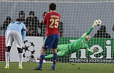 Manchester City's goalkeeper Joe Hart fails to save a penalty from CSKA's Bebras Natcho who scored his side's second goal during the Champions League Group...