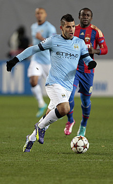 Manchester City's Sergio Aguero, left, in action during the Champions League Group E soccer match between CSKA Moscow and Manchester City at Arena Khimki...