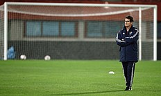 Russia's national soccer team head coach Capello watches his team during a training session Vienna