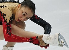 Japan's Rika Hongo performs during the Free Skating at the Cup of Russia ISU Grand Prix figure skating event in Moscow, Russia, Saturday, Nov. 15, 2014...