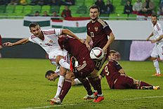 Hungary's Priskin tries to score past Russia's Ignashevich during their international friendly soccer match at Groupama Arena in Budapest