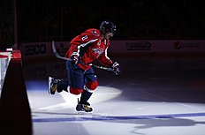 ������ � ������: Washington Capitals left wing Alex Ovechkin (8), from Russia, take the ice before the third period of an NHL hockey game against the Buffalo Sabres, Saturday,...
