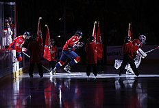 ������ � ������: Washington Capitals goalie Braden Holtby (70), right, left wing Alex Ovechkin (8), from Russia, center, and defenseman Mike Green (52) take the ice before...