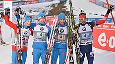 Russia's winner team from left: Maxim Tsvetkov, Timofey Lapshin, Dmitry Malyshko and Anton Shipulin pose for the media after the men's Biathlon World Cup...