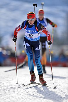 Russia's second placed Ekaterina Glazyrina skis during the women's Biathlon World Cup 10 kilometers pursuit race at the Biathlon World Cup in Hochfilzen,...
