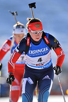 Russia's forth placed Olga Podchufarova skis during the women's Biathlon World Cup 10 kilometers pursuit race at the Biathlon World Cup in Hochfilzen,...