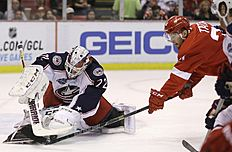 ������ � ������: Columbus Blue Jackets goalie Sergei Bobrovsky (72) of Russia stops a shot by Detroit Red Wings left wing Tomas Tatar (21) during the second period of an...